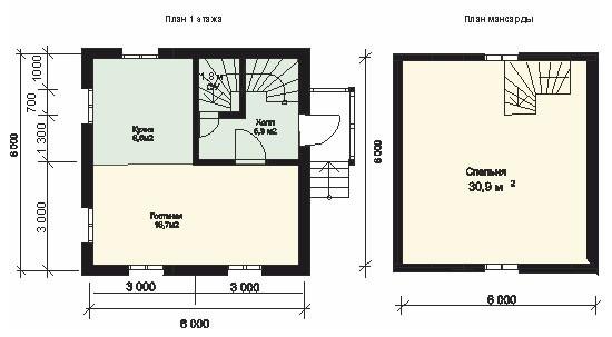 Планировка двухэтажного дома из бруса 6 на 6