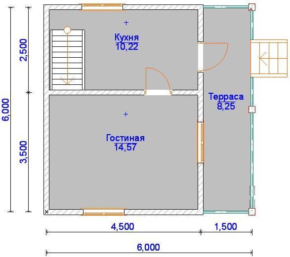 Планировка 1 этажа дома с мансардой 6 на 6