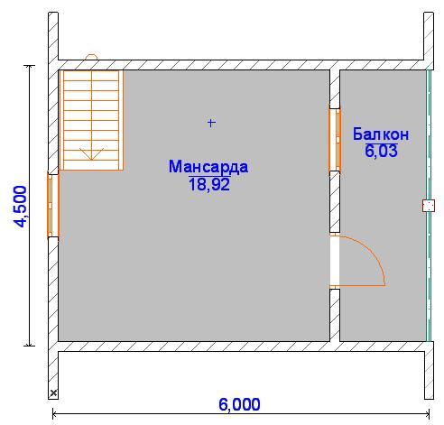 Планировка мансардного этажа 6 на 6