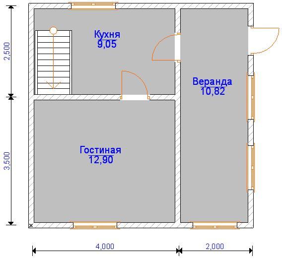 Планировка первого этажа дома из бруса 6 на 6