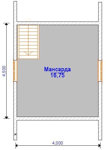 Планировка мансардного этажа дома 6 на 6