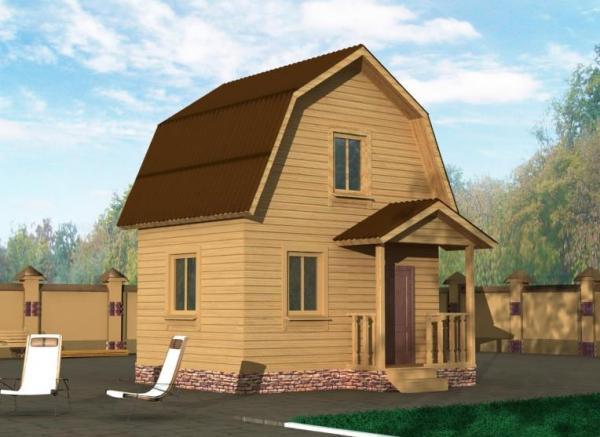 Двухэтажный загородный дом из бруса 5 на 5
