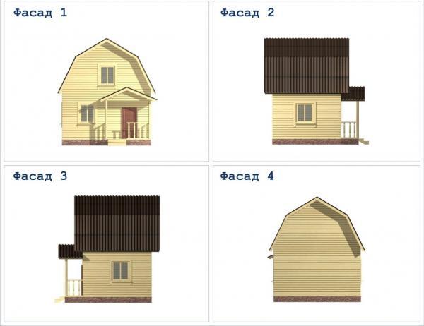 Фото фасада двухэтажного дома из бруса 5 на 5