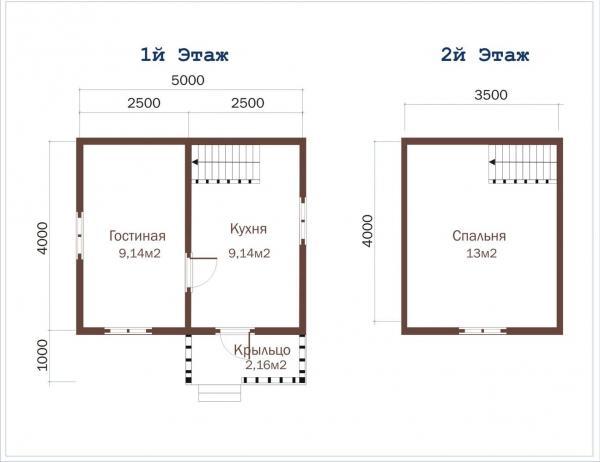 Планировка двухэтажного дома из бруса 5 на 5