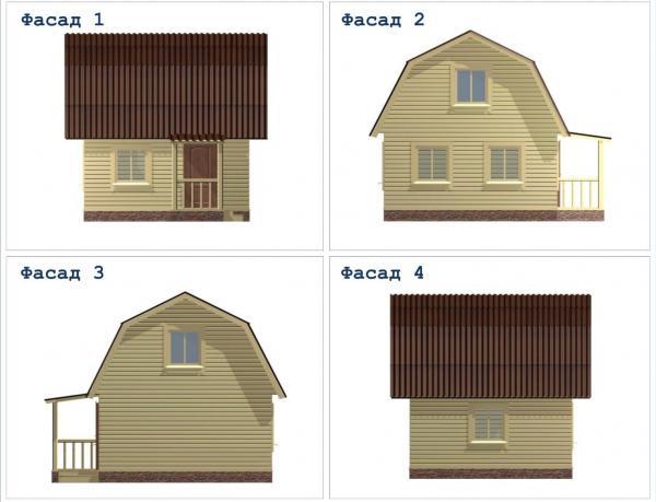 Фасад дачного дома из бруса 5 на 5