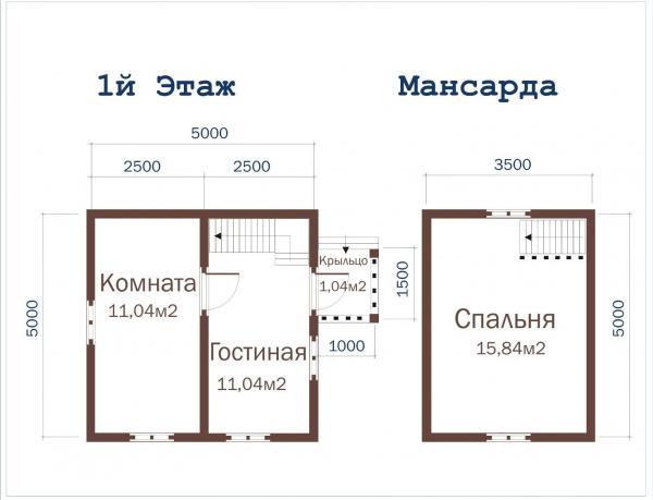 Планировка дачного дома из бруса 5 на 5