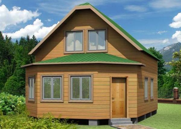 Дом с террасой из бруса 6 на 6