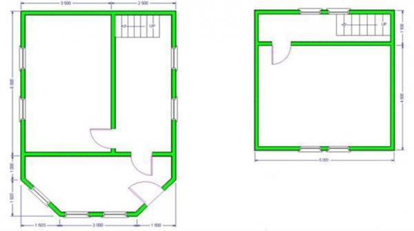 Планировка дома с террасой из бруса 6 на 6