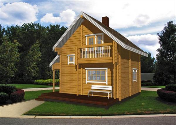 Семейное двухэтажное гнездышко из бруса 6 на 6