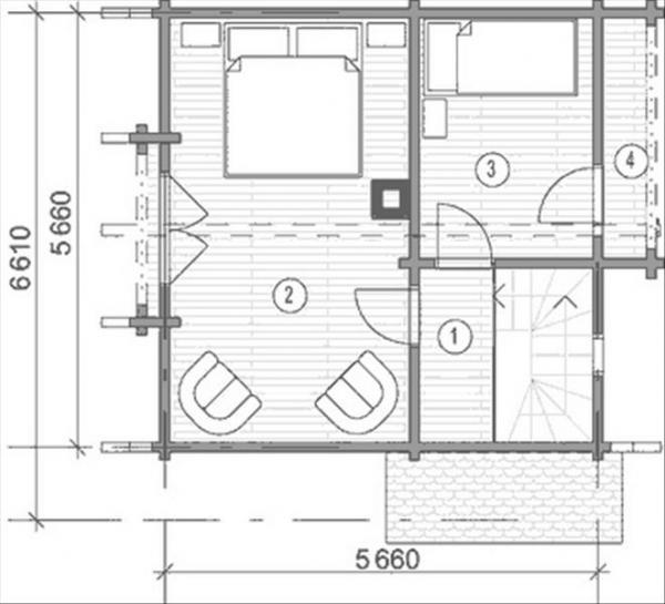 Планировка второго этажа  дома из бруса 6 на 6