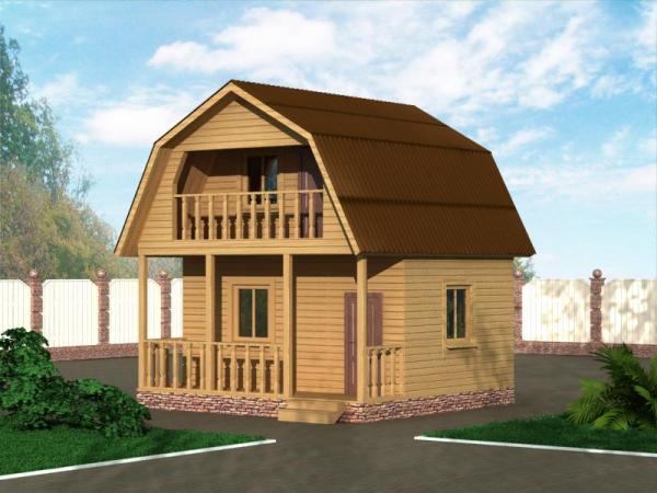 Двухэтажная дача с балконом из бруса 6 на 6