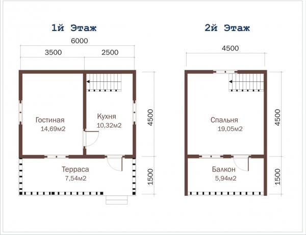 Планировка этажей дачи с балконом 6 на 6