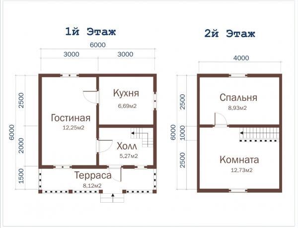 Планировка этажей уютного домика из бруса 6 на 6
