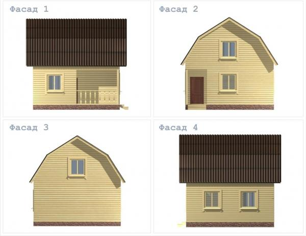 Фасад коттеджа с большой спальней 6 на 6