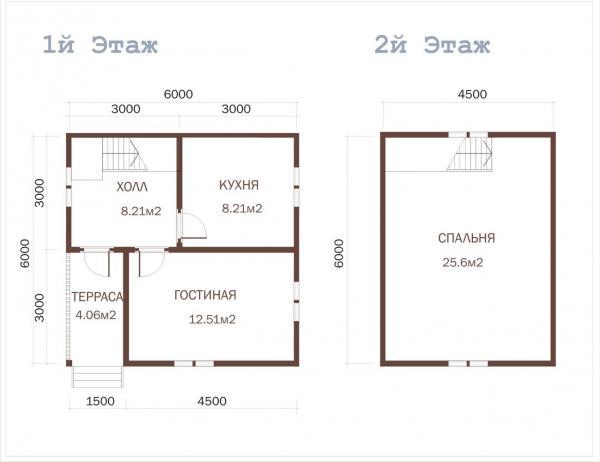 Планировка этажей коттеджа из бруса 6 на 6