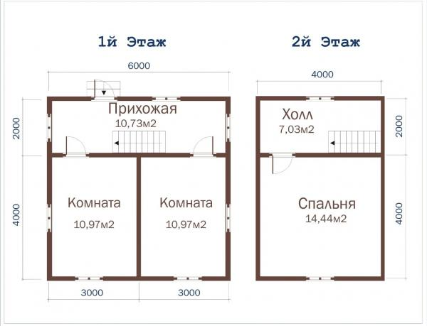 Планировка гостевого домика 6 на 6